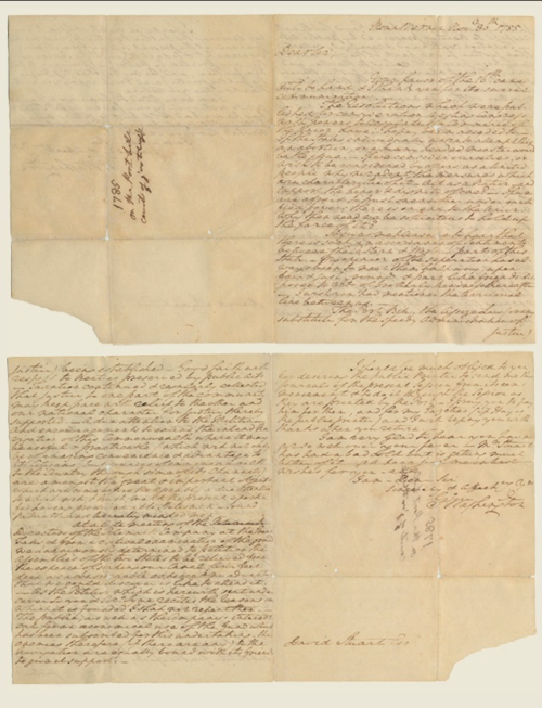 A letter from President George Washington to David Stuart, dated November 30, 1785, is just one of the many wonderful letters we have in our collections here at the museum
