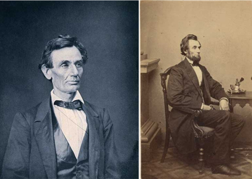 Compare these two images of Abraham Lincoln, the left taken in 1860 and the right in 1861. Notice a difference? President Lincoln grew a beard. Images from the National Portrait Gallery.