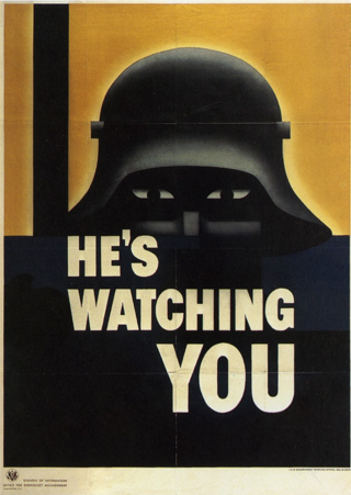 During World War II, the Office for Emergency Management produced posters such as this one, which depicts the stylized helmet of a German soldier