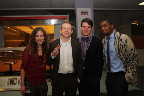 Macklemore with Freedom School Scholars Joy Lyman, Harry Clarke, and Nicholas Nchamukong