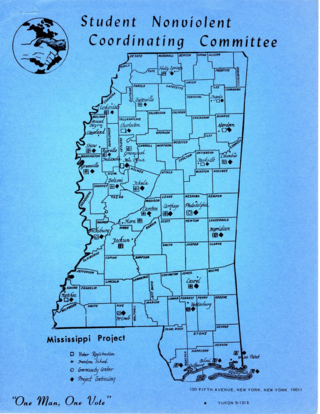 Locations of Freedom Summer initiatives throughout Mississippi