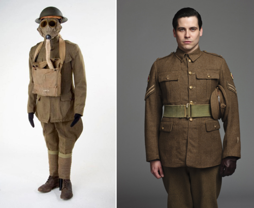 "On the left, an American enlisted soldier's ""doughboy"" uniform from World War I, nicknamed for its brown, doughy color. On the right is footman Thomas Barrow (Rob James-Collier), who in season two enlisted in the Royal Army Medical Corps. Photo courtesy Carnival Films and PBS Masterpiece."