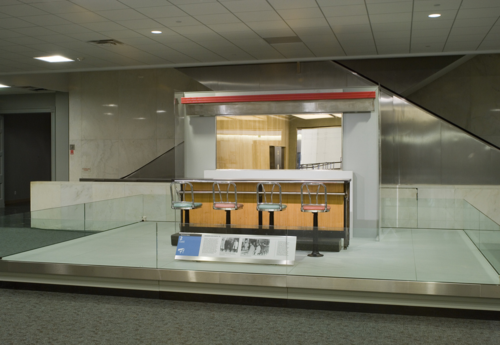 The Greensboro Lunch Counter on display in the museum