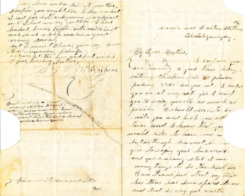 Union soldier Vidal Thom wrote this letter to his younger brother on Thanksgiving from a camp near Bealton Station, Virginia. In it, he imagines that his brother is enjoying chicken pie, cider, and plum pudding.