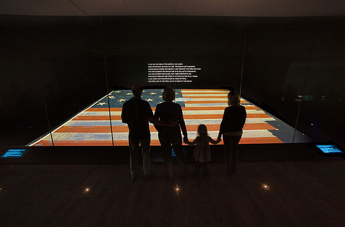 The first stanza of the national anthem is projected prominently on the wall above the Star-Spangled Banner at the museum. A special enclosure, with a 35-foot floor-to-ceiling glass wall, protects the fragile wool and cotton flag while providing maximum visibility to visitors.