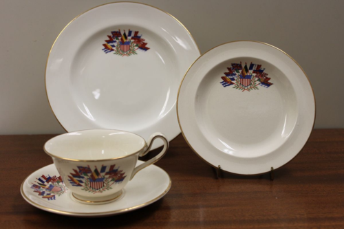 Tea sets like this one were made by the Wedgwood Company of Staffordshire, England, starting in about 1917. Mrs. Robert Coleman Taylor got the idea to commission a tea service from Wedgwood when the U.S. entered World War I.