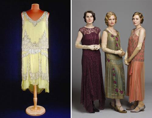 The 1920s flapper dress on the left typifies the fashion of the period. It features a dropped waistline seam, and its bodice is overlaid completely with beaded chartreuse chiffon. Seen on the right is Mary Crawley (Michelle Dockery), Rose MacClare (Lily James), and Edith Crawley (Laura Carmichael) in similar dresses in season four. Photo courtesy Carnival Films and PBS Masterpiece.