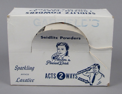 "Display box of Garfield's Seidlitz Powders, 1930s-1940s ""For that dull headachy feeling often caused by intestinal congestion…"""