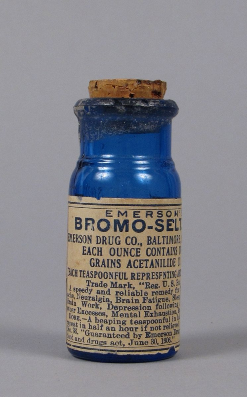 "Emerson's Bromo-Seltzer , after 1906. ""Remedy for nervous headache, neuralgia, brain fatigue, sleeplessness, over-brain work, depression following alcoholic and other excesses, mental exhaustion"""