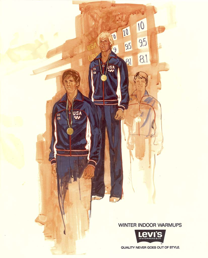 Sketch for the warm-up suits that were worn by the Olympic athletes while on the medal stand during the 1980 Lake Placid Games