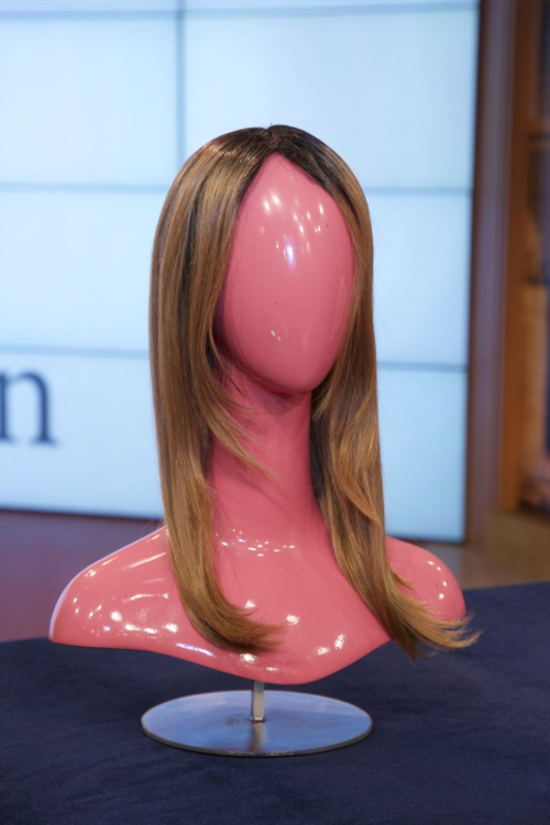 "Wig and wig head from ""The Wendy Wiliams Show"". Courtesy ""The Wendy Williams Show""."
