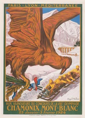 A poster from the first Winter Olympic Games which were held in Chamonix, France in 1924.