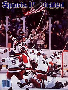 """Sports Illustrated"" cover of the Miracle on Ice victory, February 1980. This was one of the only times no caption was used on the cover because they said no caption was needed. The picture said it all."