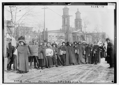 General Jones (left) and Suffrage Pilgrims arriving in D.C. for National Woman Suffrage Parade, 1913, Courtesy of Library of Congress, Prints & Photographs Division [LC-DIG-ggbain-12622]