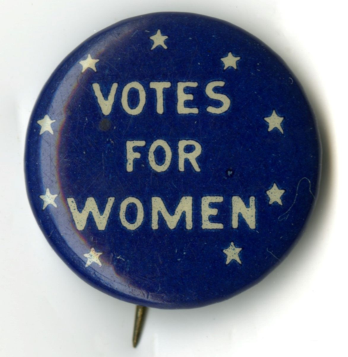 Woman suffrage button in the museum's collection