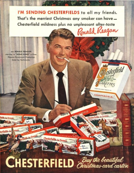 "This ad, which appeared around 1950, featured the popular actor Ronald Reagan—and included promotion for his latest film, ""Hong Kong"""