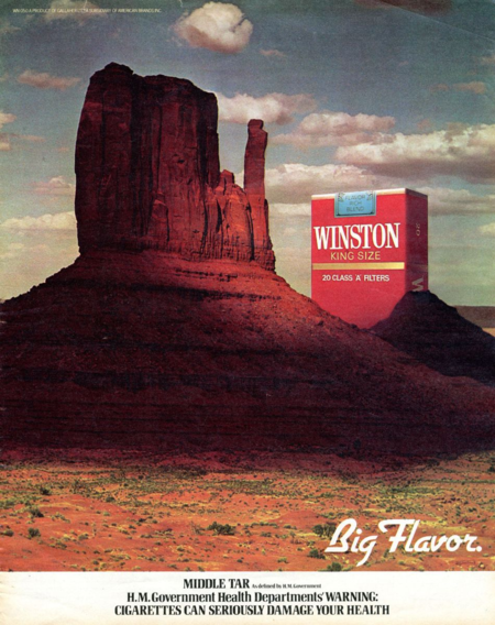 R.J. Reynolds Tobacco Company used a quintessential American landscape to market its Winston cigarettes abroad