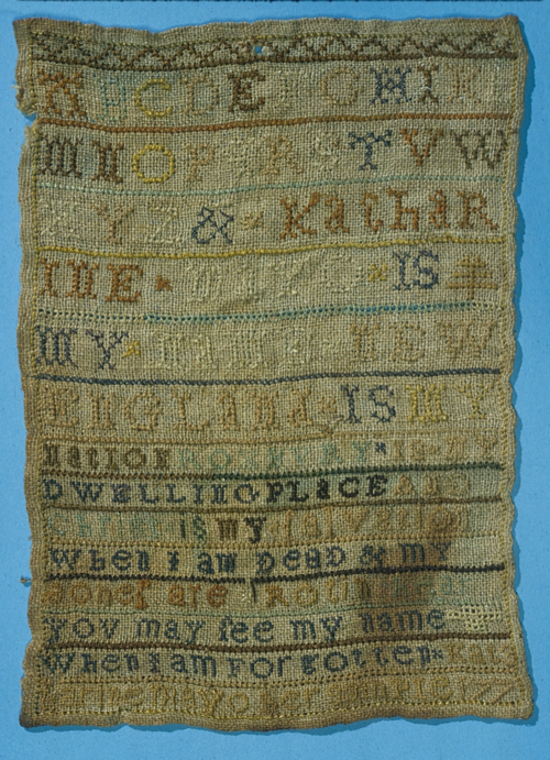 From the Greenwood collection, a sampler sewn by Katharine Mayo in 1773, Roxbury, Massachusetts