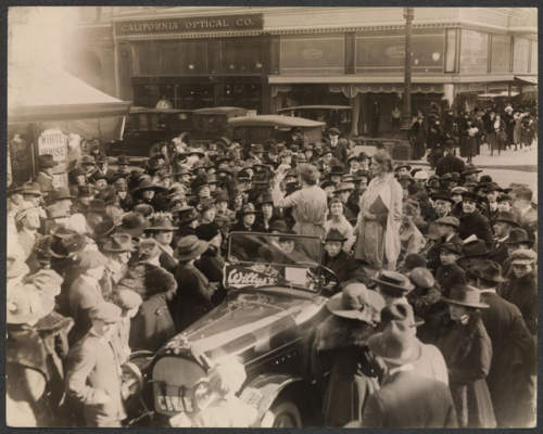 Suffragists in the Prison Special Tour address a crowd in San Francisco, 1919. Courtesy of Women of Protest: Photographs from the Records of the National Woman's Party, Manuscript Division, Library of Congress [mnwp.160057]