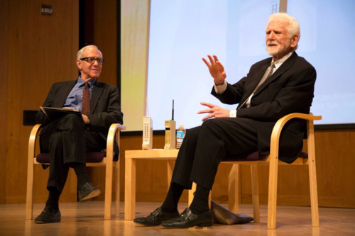 The author (left) interviews cell phone inventor Martin Cooper. Photo by Chris Gauthier.