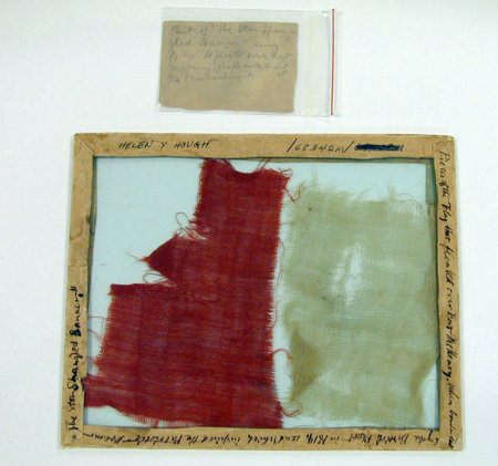 This is a fragment of the Star-Spangled Banner, which was in the care of the Armistead family for 90 years. They occasionally gave away dozens of small pieces of the flag.