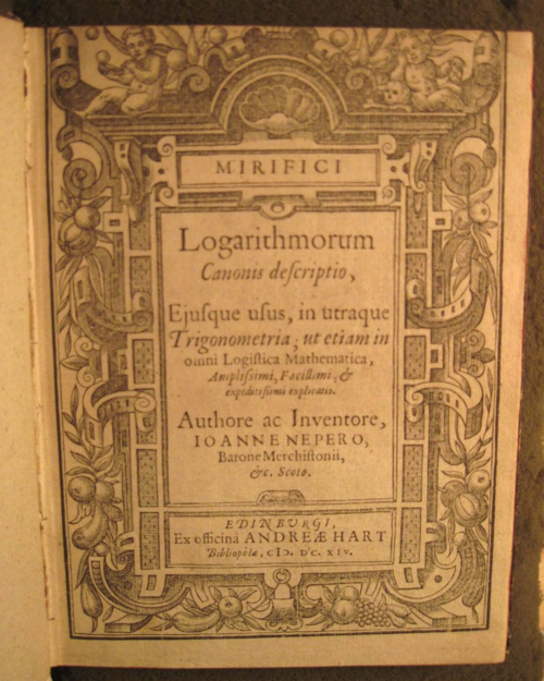 Title page of Mirifici Logarithmorum Canonis descriptio