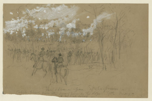 """The battle of Spotsylvania Court House"" by Edwin Forbes. Morgan collection of Civil War drawings, Library of Congress Prints and Photographs Division. Gift of J.P. Morgan, 1919."