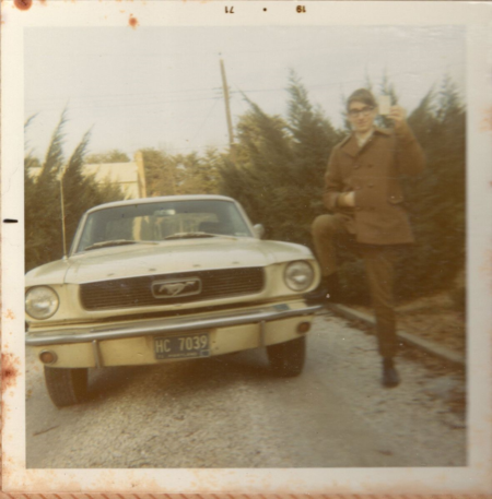 The blogger and his first car, a 1966 Ford Mustang, in his parents' driveway, 1971.  This rite of passage called for a triumphant pose with driver's license held high, foot on the bumper, and hand in the jacket.