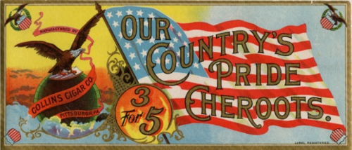 Cigar box label: Some of the earliest court battles over flag desecration focused on tobacco and alcohol advertisements, which were criticized for linking the flag to immoral habits.
