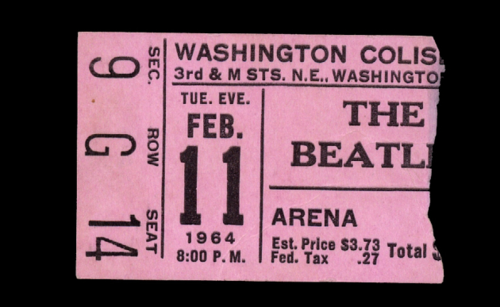Ticket stub from The Beatles' 1964 concert in Washington, D.C.