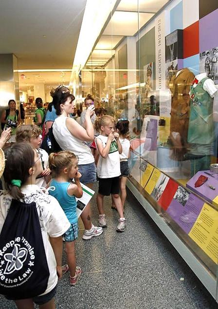 "The Girl Scouts display opened on June 1, 2012, in time for the Girl Scouts ""Rock the Mall"" event a week later, bringing record numbers of visitors to the museum"