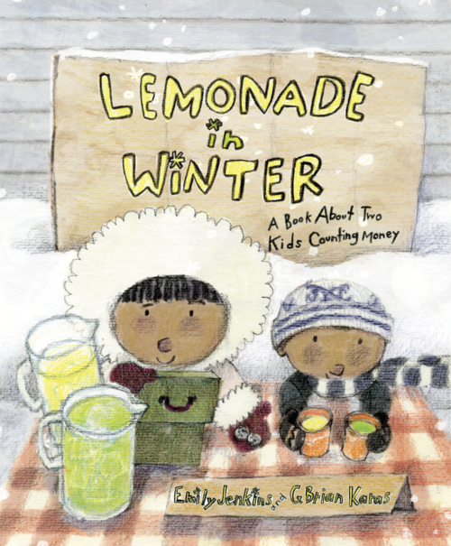 "In ""Lemonade in Winter: A Book About Two Kids Counting Money by Emily,"" Pauline and John-John try everything they can think of to attract customers. They use advertising, entertainment, decorations, and even a sale. The book is by Emily Jenkins and is illustrated by G. Brian Karas."
