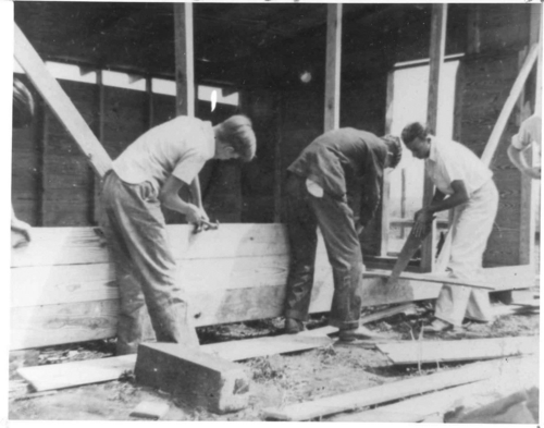 Jimmy Carter (at left) joins Richard Johnson and Ernest Harris in a brooder house building project in 1939. Courtesy of the National FFA Organization and the Ruth Lilly Special Collections & Archives, Indiana University-Purdue University Indianapolis.