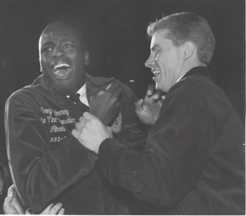 Corey Flournoy shocked with joy after being elected president of the FFA at the 67th National FFA Covention in Kansas City, MO in 1994.