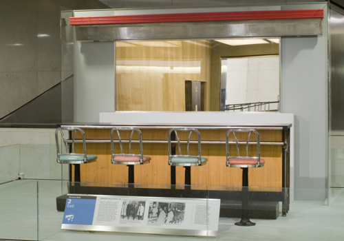 This section of the Woolworth's lunch counter with 4 stools is on view in the National Museum of American History, second floor east.