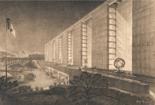 Reproduction of rendering of MHT by Hugh Ferris, Avery Library, Columbia University. Ferris was an architect and the foremost delineator of buildings in his day. In Ferris's rendering, abstract sculptures of scientific instruments surround the building.
