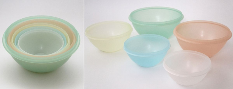 "This colorful set of ""WONDERLIER"" nesting bowls was made by Tupper Corporation around 1954 and was a gift of Glenn O. Tupper, the son of Earl S. Tupper"