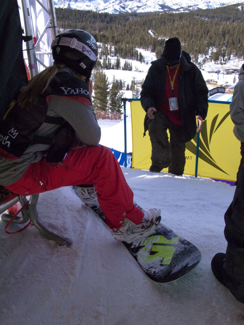 Hannah Teter waiting at the starting gate before her silver medal run on the halfpipe at the 2010 Vancouver Games