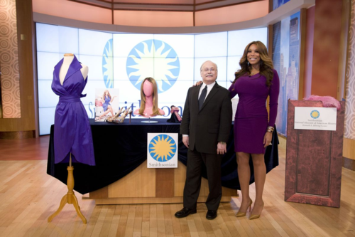 Curator Dwight Blocker Bowers and Wendy Williams on set before the donation