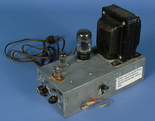 First pacemaker used in Mt. Zion Hospital. Invented by Dr. Uhley, 1957.