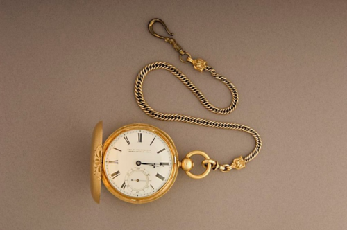 Lincoln's English gold watch was purchased in the 1850s from George Chatterton, a Springfield, Illinois, jeweler. The watch's movement was made in Liverpool, while the case was made at an unidentified American shop.