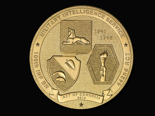 "The medal's reverse (tails side) depicts the insignias of the 100th INF BN, 442nd RCT, and MIS. The 100th INF BN insignia features a taro leaf and a traditional Hawaiian helmet, both of which are emblematic of the unit's Hawaiian roots. The ""Go for Broke"" Torch of Liberty shoulder patch represents the 442nd RCT. The sphinx, a traditional symbol of secrecy, represents the MIS insignia."