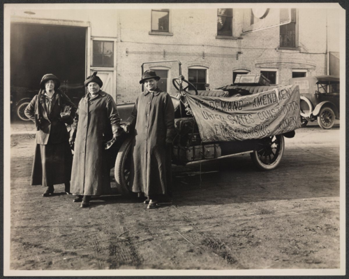 Suffrage Envoy Sara Bard Field (left), Maria Kindberg (center), and Ingeborg Kinstedt (right), 1915. Courtesy of Women of Protest: Photographs from the Records of the National Woman's Party, Manuscript Division, Library of Congress [mnwp.159034]