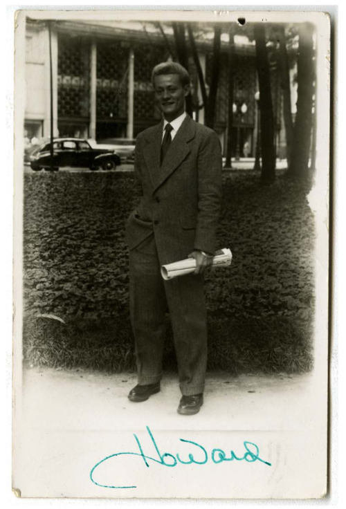 Postcard with Howard on the street in Rio de Janeiro, Brazil, 1946