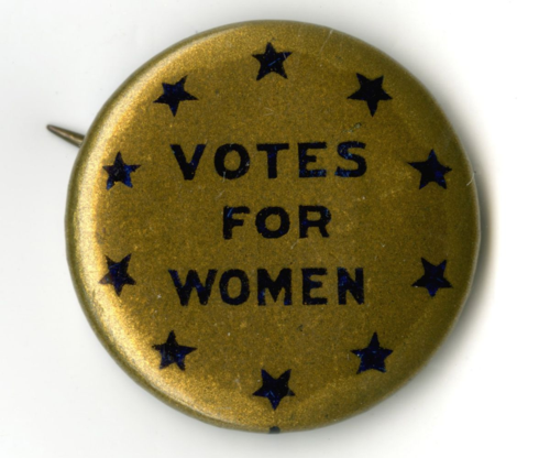 Woman suffrage button in the museum's political history collection, 242991.181