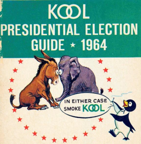 This 1964 KOOL Presidential Election Guide produced by an advertising agency for R.J. Reynolds Tobacco Company offered information on the election process and the two candidates: incumbent Democratic president, Lyndon B. Johnson, and the Republican contender, Barry Goldwater
