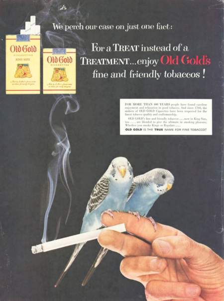 This 1954 advertisement for Old Gold cigarettes exploited the post-World War II popularity of parakeets
