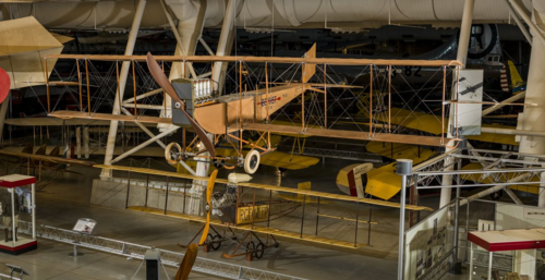 The Benoist-Korn Type XII and the Fowler-Gage Biplane  below it are suggestive of the type of planes used during this period. Courtesy of the Smithsonian's National Air and Space Museum.