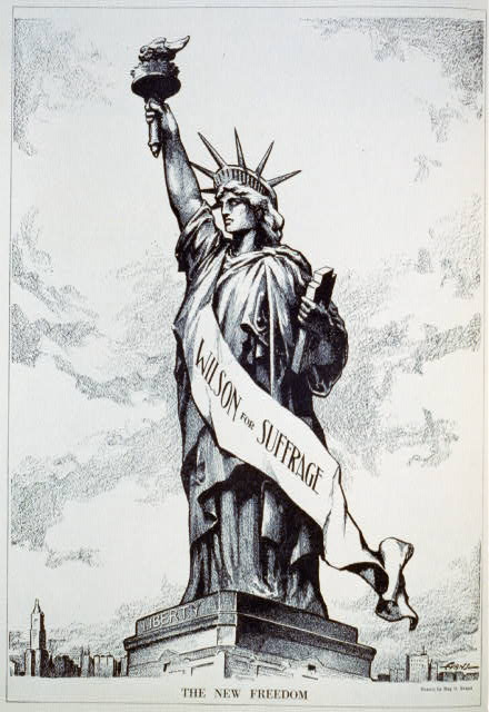 "Drawing of Statue of Liberty wearing ""Wilson for Suffrage"" banner by Ray O. Evans, Courtesy of Library of Congress, Prints and Photographs Division [LC-USZC2-1198]"