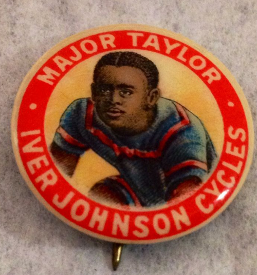 Iver Johnson Arms and Cycle Works sponsored Taylor during his 1900 season and while he toured overseas. They used his name and likeness for advertising, creating buttons such as this one, and placing ads in newspapers and magazines.